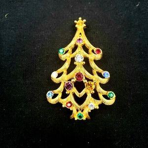 Vtg Signed Monet Christmas Tree Brooch